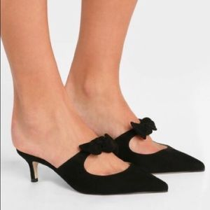 Jcrew Sophia Pointed Toe Suede W/ Bow Mules/Slides